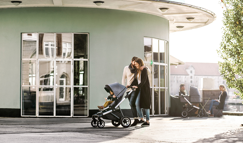 Thule Sleek Four Wheel Stroller Lifestyle