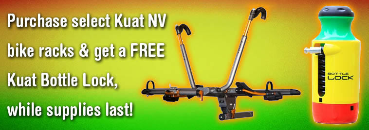 Free Kuat Bottle Lock Rasta with select NV base rack purchase while supplies last