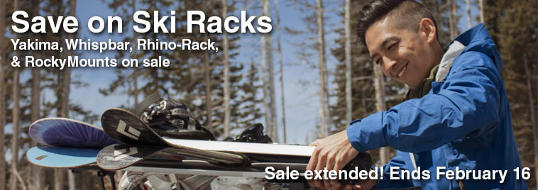 Save on ski racks from Yakima, Whispbar, RockyMounts, and Rhino-Rack this week.