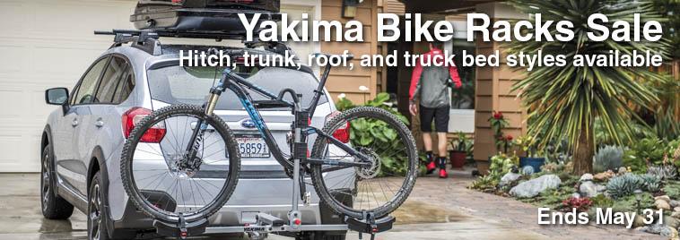 Yakima hitch, bike, and trunk racks on sale until May 31